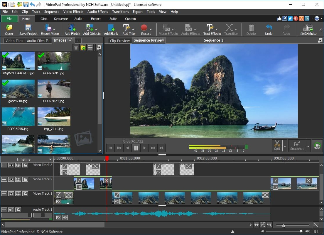 VideoPad Masters Edition for Windows allows you to create and edit videos from many different formats. Create great looking videos or movies quickly with the intuitive user interface. Drag and drop video clips and easily add effects.