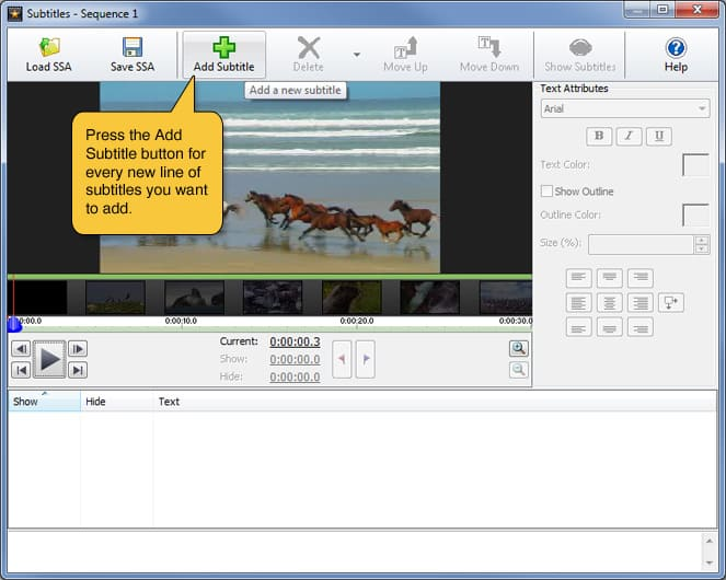 How to create and edit subtitles with videopad.