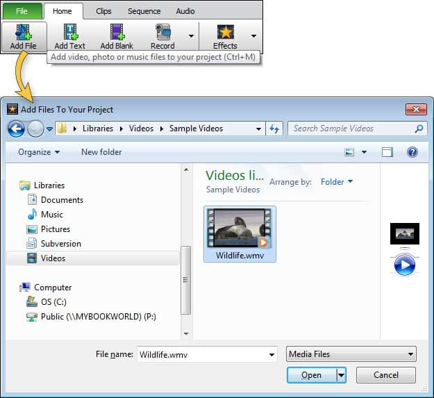 How to create and edit subtitles with videopad click the add file button in the home tab toolbar to select and load your video file ccuart Images
