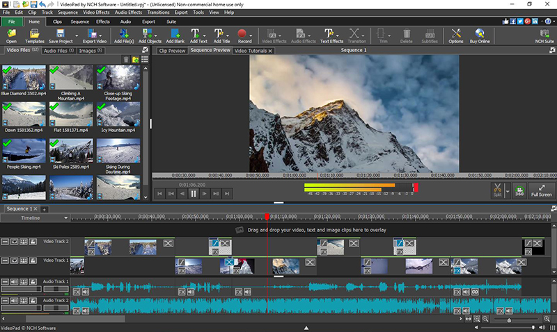 Click to view VideoPad Free Movie and Video Editor 7.03 screenshot