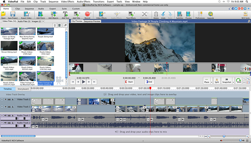 VideoPad Video Editor Free for Mac full screenshot