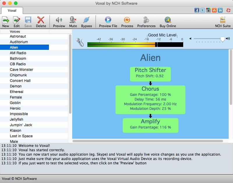 Voxal Voice Changer Free for Mac full screenshot