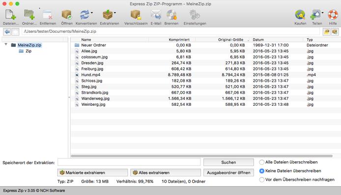 Express Zip Plus ZIP-Programm Mac